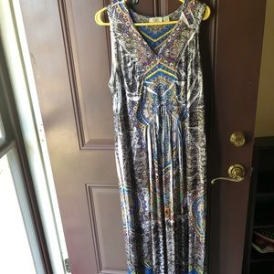 Cato multicolored beaded neckline maxi dress